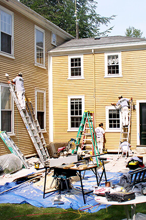 Catchlight Painters working on the exterior of a home in Greater Boston