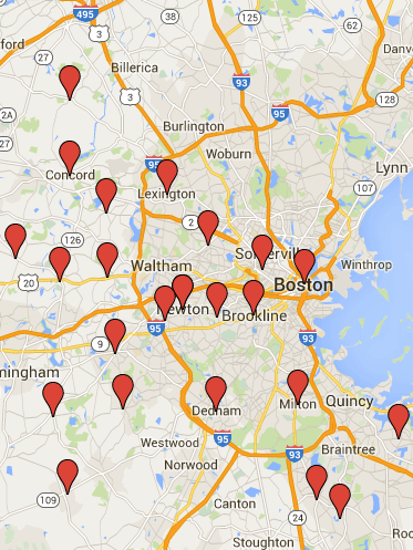 Greater Boston Map Towns.Commercial Painting Service Areas Boston Painting Contractors