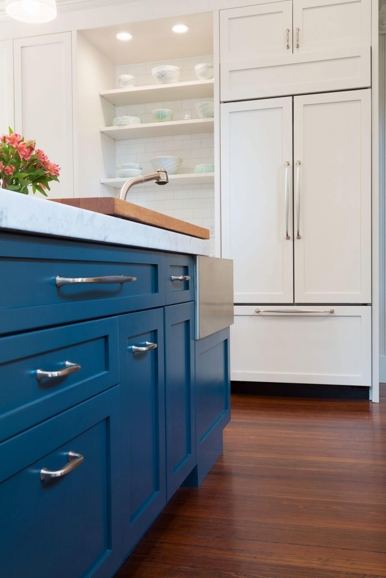 Hague blue kitchen cabinets.