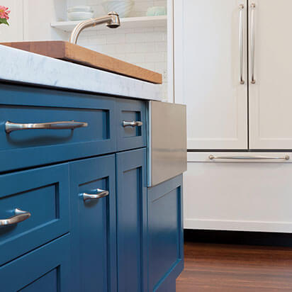 beautiful blue cabinets freshly painted