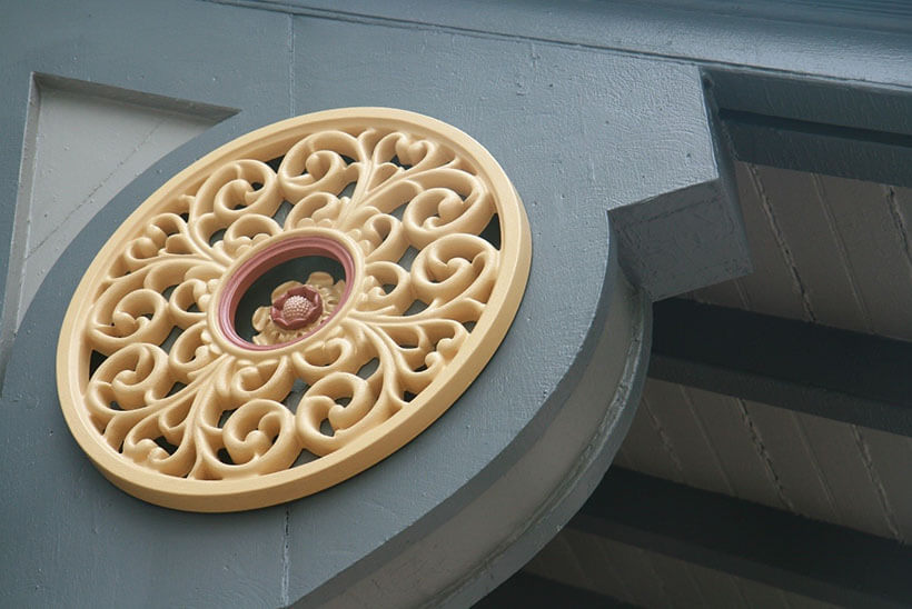 Architectural detail on exterior of historic home in Brookline, Mass.