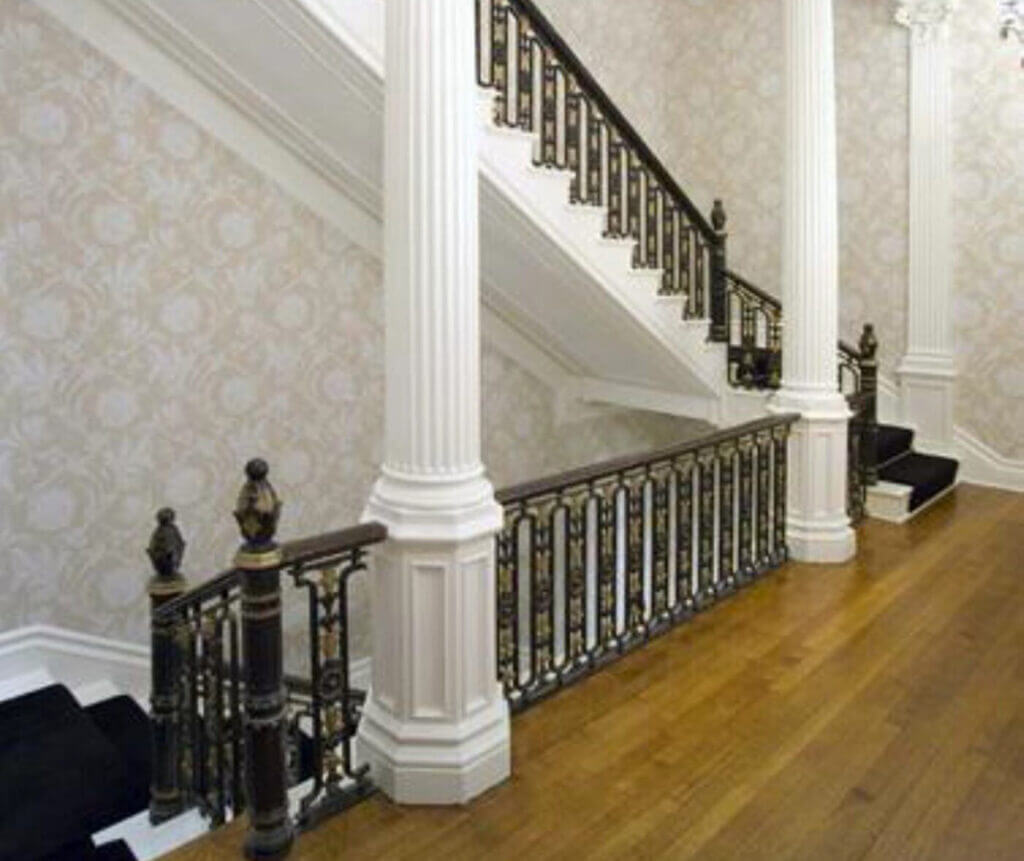 magnificently detailed wrought iron railing finished